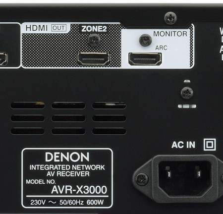 Back panel of the Denon AVR-X3000