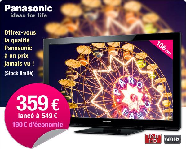 359 euros le téléviseur 106 cm Panasonic
