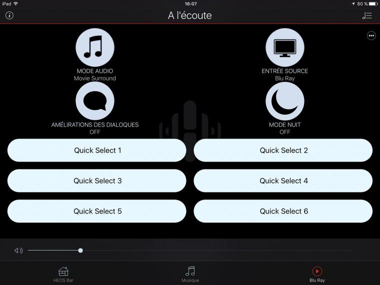 App Heos : menu sélection de source et réglages audio